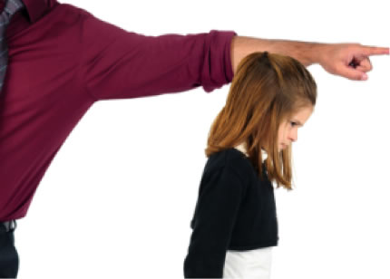 parent pointing at a misbehaving child to go to her room